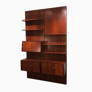 Italian Rosewood Wall Bookcase, 1970s