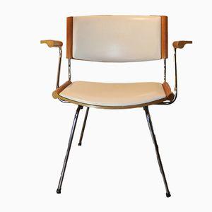 Vintage Scandinavian Teak, Metal & Beige Leather Chair