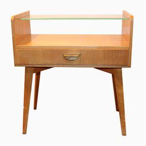 Table de Chevet en Teck et Verre Vintage par WK Möbel