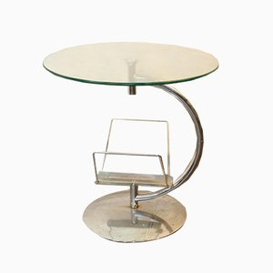 Smoked Glass and Aluminium Coffee Table with Magazine Rack, 1960s