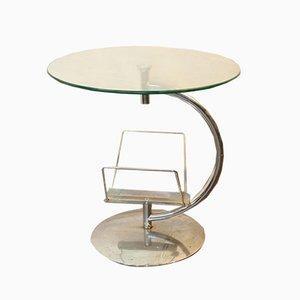 Table Basse avec Porte-Revues en Verre Fumé et en Aluminium, 1960s