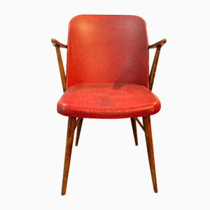 Vintage Scandinavian Red Wooden Chair