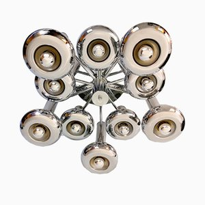 Large Space Age Chrome Chandelier, 1960s