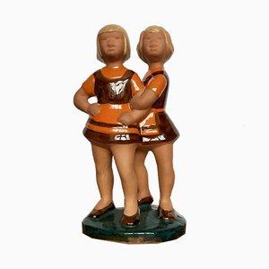 Figura con chicas sueca vintage de cerámica de Jie Gantofta, años 70