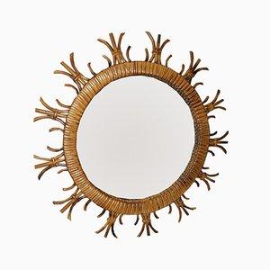 Französischer Vintage Spiegel in Sonnen-Optik aus Rattan, 1960er