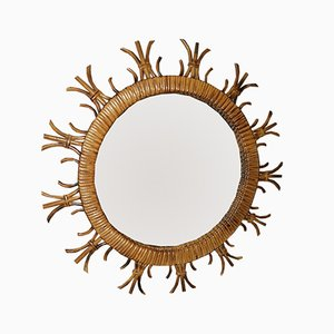 Vintage French Sun Mirror in Rattan, 1960s