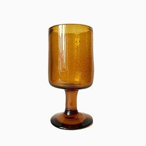 Vase en Verre à Bulles d'Ambre Vintage par Erik Höglund pour Kosta Boda, Suède, 1950s