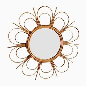 Französischer Spiegel in Sonnen-Optik aus Rattan, 1960er