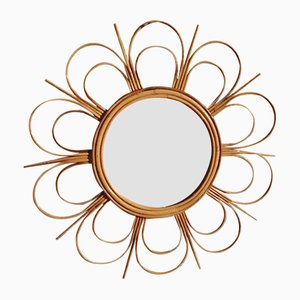 French Sun Mirror in Rattan, 1960s