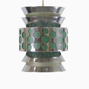 Lámpara colgante vintage en verde y metal cromado
