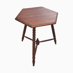Table d'Appoint Hexagonale Vintage en Chêne, 1950s