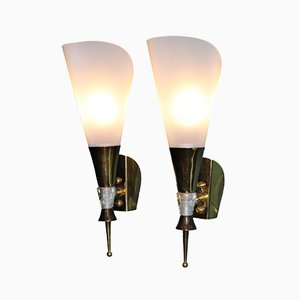 Vintage French Brass & Plexiglas Wall Lights, 1950s, Set of 2