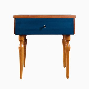 Vintage Nightstand with Blue Drawer, 1960s
