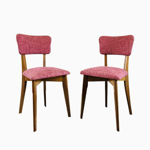 Vintage Oak & Pink Fabric Chairs, Set of 2