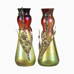 Vases Art Nouveau en Verre Irisé de Josef Rindskopf & Söhne, 1900s, Set de 2