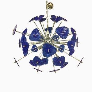 Lámpara de araña Sputnik de cristal de Murano Blu Pulegoso de Italian light design