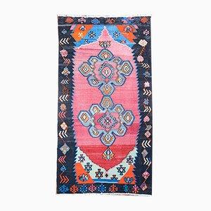 Türkischer handgewebter türkischer Mid-Century Kelim Teppich aus Schafwolle & Wolle, 1960er