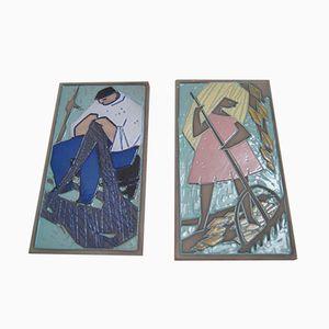 Plaques Murales en Céramique par Carsten Ström pour Abbekås Keramik, Suède, 1960s, Set de 2