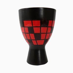 Jarrón francés Mid-Century de cerámica negra y roja de Elchinger, años 50