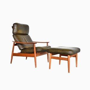 FD 164 Sessel und Fußhocker von Arne Vodder für France & Søn, 1960er