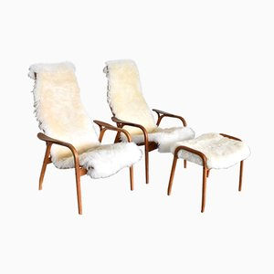 Sheepskin Lamino Chairs & Footrest by Yngve Ekström for Swedese, 1970s