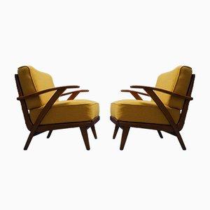 Moderne Mid-Century Armlehnstühle mit gelbem Bezug, 1960er, 2er Set