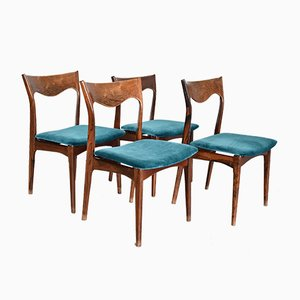 Petrol Blue Velvet Dining Chairs from AWA, 1950s, Set of 4