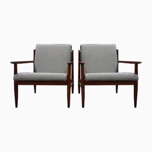 Mid-Century Czech Grey Armchairs, 1960s, Set of 2