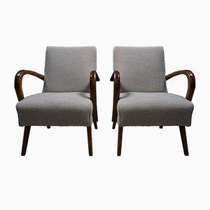 Tschechische Mid-Century Stühle aus Bugholz mit grauem Bezug, 1950er, 2er Set