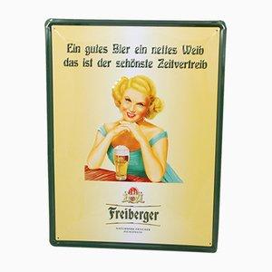 Deutsches Freiberger Werbeschild aus Metall, 1970er