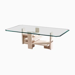 Table Basse Architecturale Postmoderne en Travertin par Willy Ballez, 1970s
