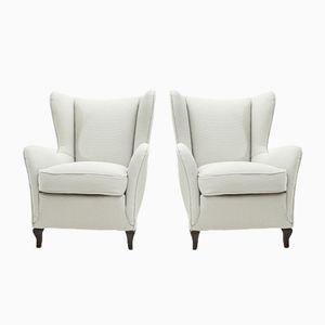 Mid-Century Italian White Fabric Armchairs, 1940s, Set of 2
