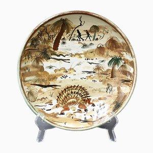 Dekorationsteller aus Keramik mit australischem Wildnis-Motiv von Neil Douglas für Arthur Merric Boyd Pottery, 1950er