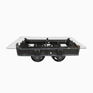 Industrial Riveted Metal Wagon & Tempered Glass Coffee Table, 1900s