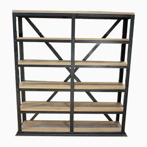 Industrial Riveted Metal & Beech Shelves, 1900s