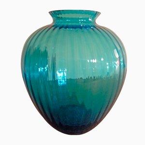 Jarrón vintage de vidrio azul de VeArt