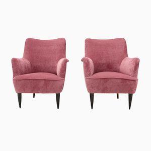Butacas italianas Mid-Century de terciopelo rosa, años 50. Juego de 2
