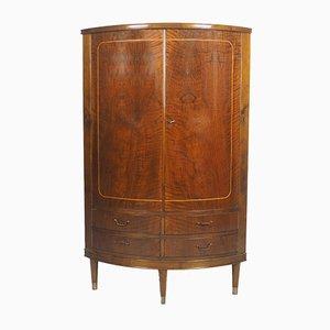 Mueble esquinero de caoba con frente arqueado, años 50