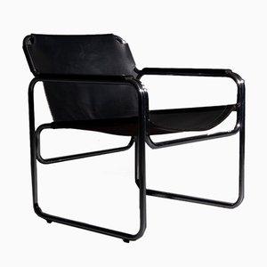 Stuhl mit röhrenförmigem Gestell & Sitz aus Sattelleder, 1960er