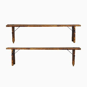 Bancs Vintage en Pin, 1940s, Set de 2