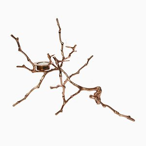 Tall Polished Bronze Cast Magnolia Twig Tealight Candle Holder by Alguacil & Perkoff Ltd, 2017