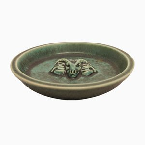 Ceramic Green Dish with Ram Motif from Saxbo, 1960s