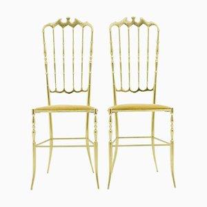 Italienische Vintage Stühle aus Messing, 1960er, 2er Set