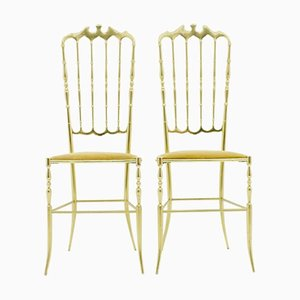 Vintage Italian Brass Chairs, 1960s, Set of 2