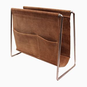 Suede and Metal Magazine Rack by Verner Panton, 1960s