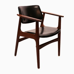 Danish Teak and Black Leather Armchair, 1960s