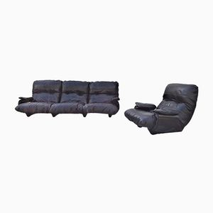 Vintage Marsala Sofa and Armchair by Michel Ducaroy for Ligne Roset