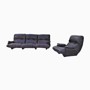 Vintage Marsala Sofa & Armlehnstuhl von Michel Ducaroy für Ligne Roset