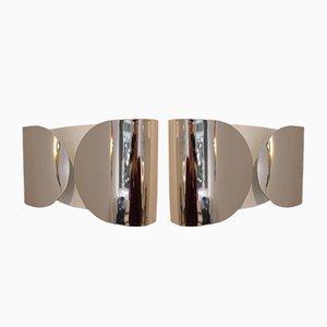 Lampade da parete Foglio vintage di Afra & Tobia Scarpa per Flos, set di 2