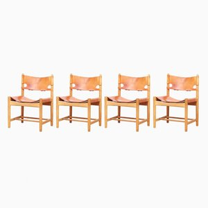 Model 3237 Hunting Chairs by Borge Mogensen for Fredericia, 1960s, Set of 4